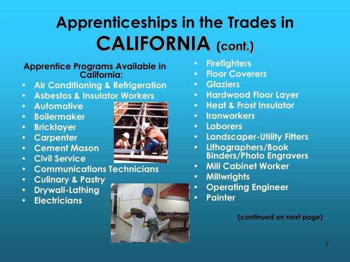 Apprentice Programs Available in California: