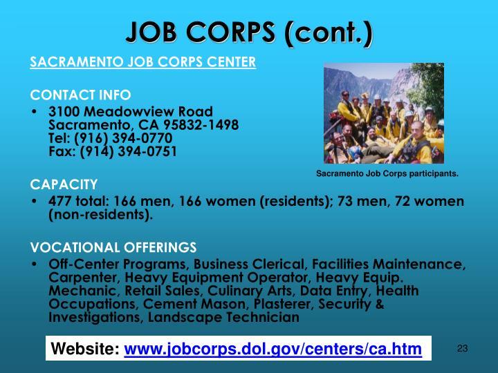 JOB CORPS (cont.)