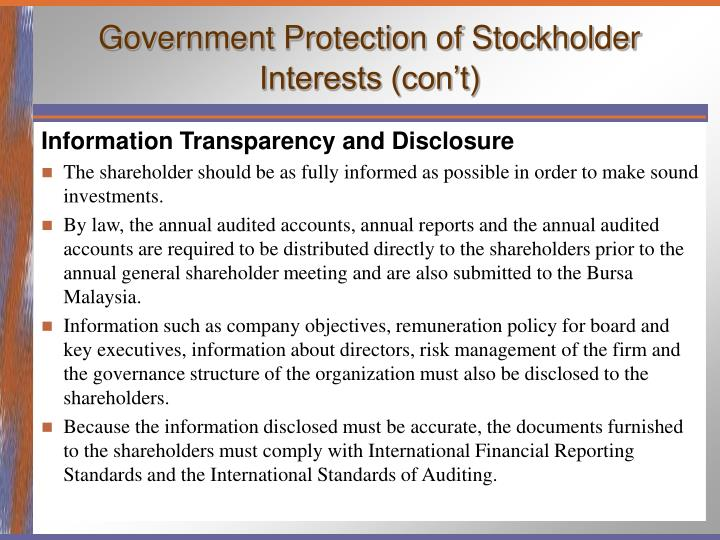 Government Protection of Stockholder Interests (con't)