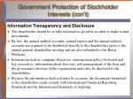 government protection of stockholder interests con t