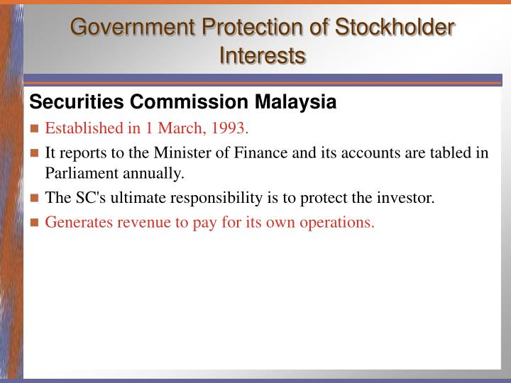Government Protection of Stockholder Interests
