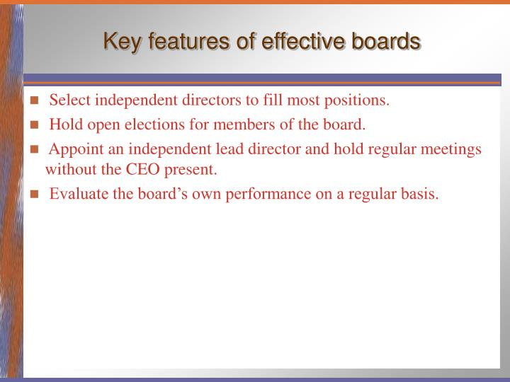 Key features of effective boards