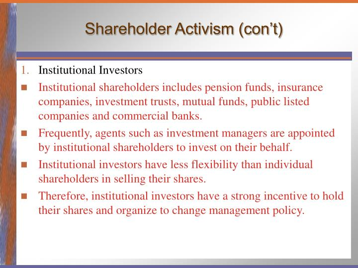 Shareholder Activism (con't)