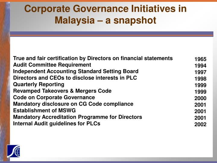 Corporate Governance Initiatives in Malaysia – a snapshot