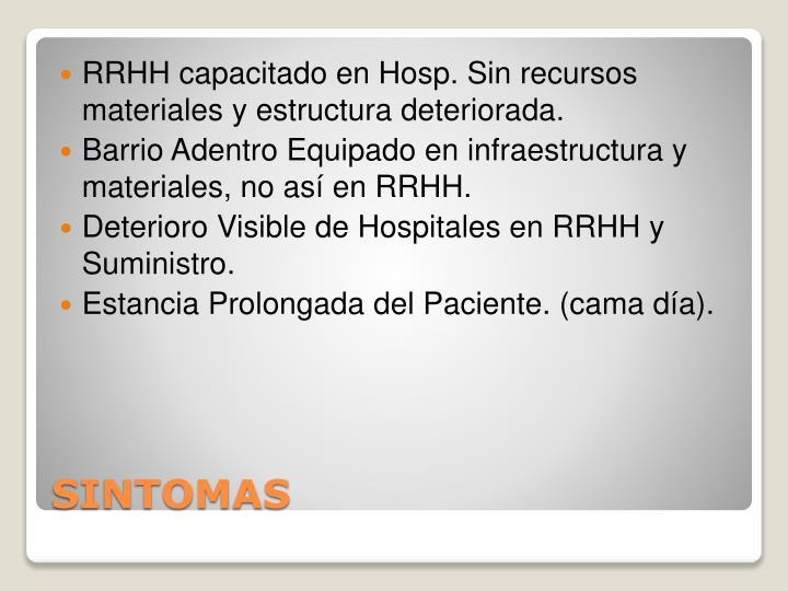 RRHH capacitado en Hosp. Sin recursos materiales y estructura deteriorada.