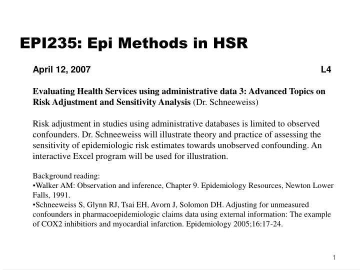 Epi235 epi methods in hsr
