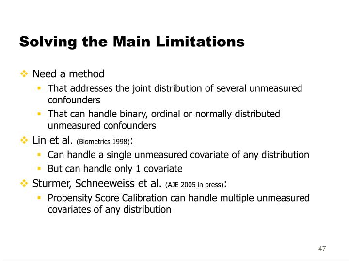Solving the Main Limitations