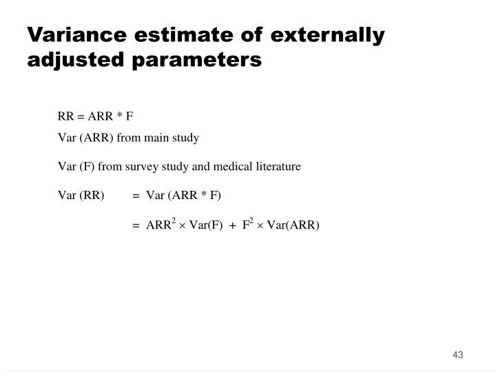 Variance estimate of externally adjusted parameters