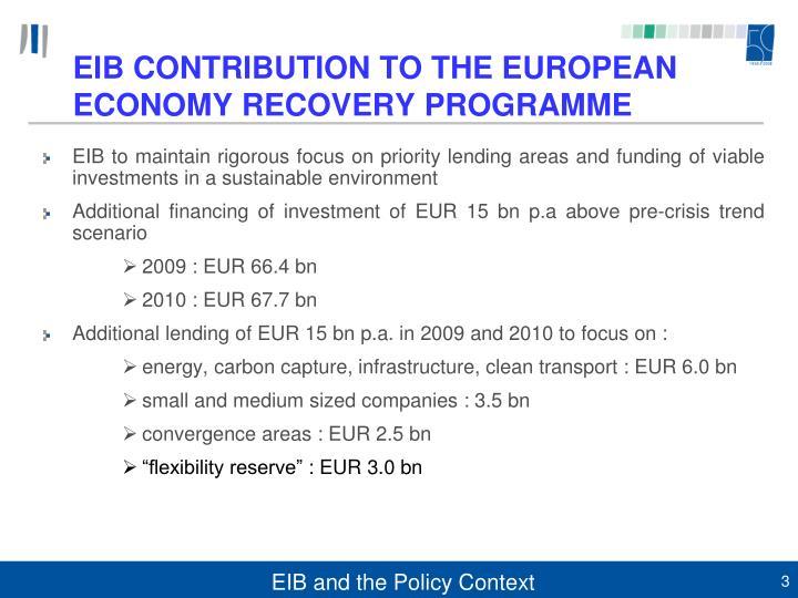 EIB CONTRIBUTION TO THE EUROPEAN ECONOMY RECOVERY PROGRAMME