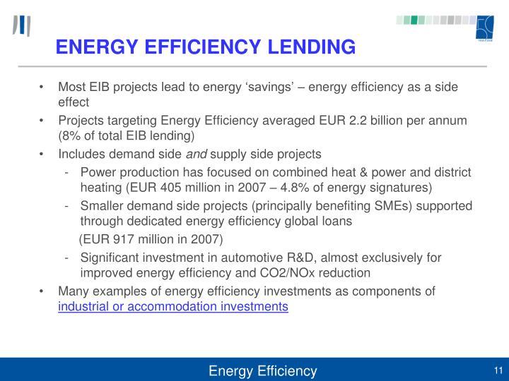 ENERGY EFFICIENCY LENDING