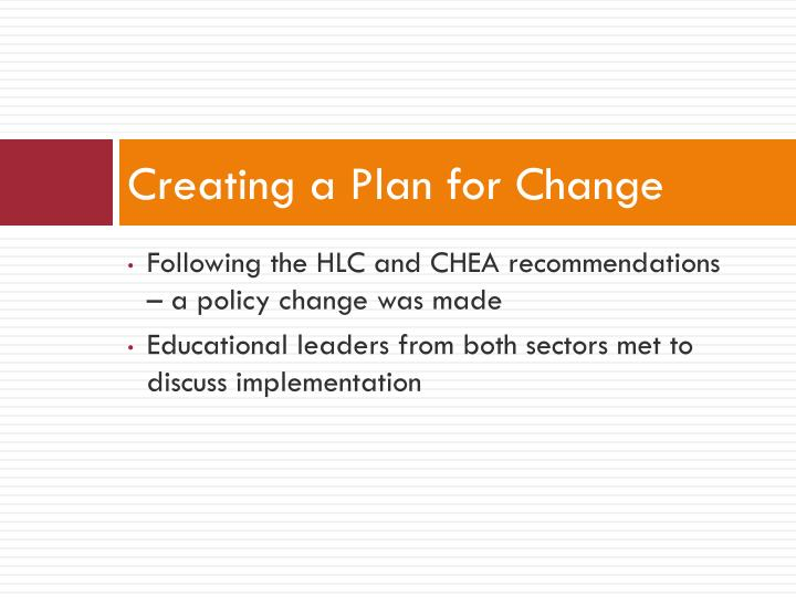 Creating a Plan for Change