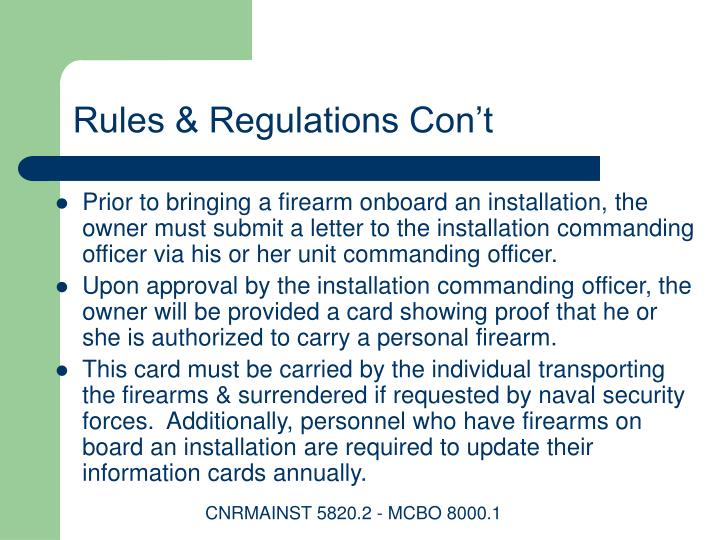 Rules & Regulations Con't