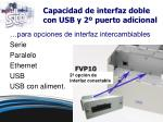 capacidad de interfaz doble con usb y 2 puerto adicional