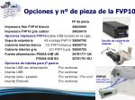 opciones y n de pieza de la fvp10