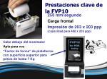 prestaciones clave de la fvp10