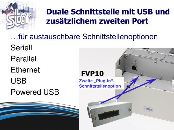 Duale Schnittstelle mit USB und zusätzlichem zweiten Port