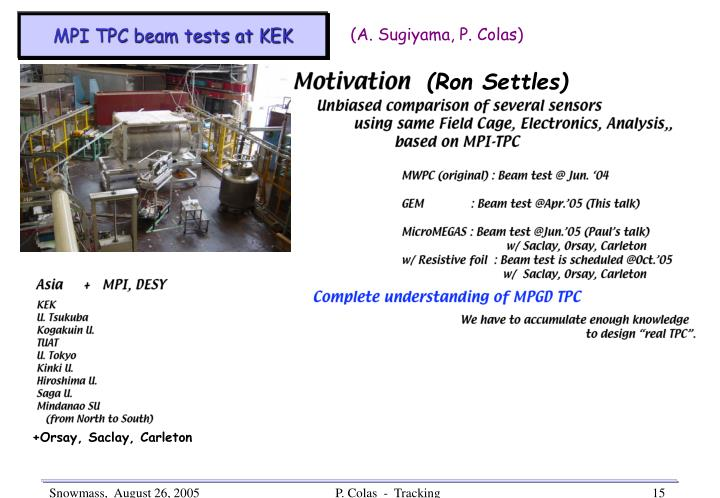 MPI TPC beam tests at KEK