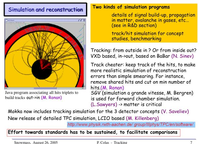 Simulation and reconstruction