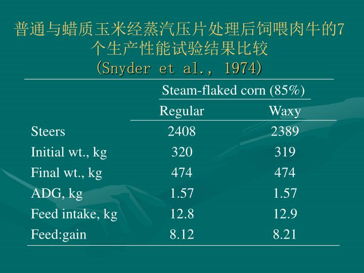 Steam-flaked corn (85%)