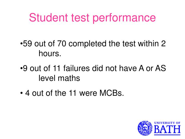 Student test performance