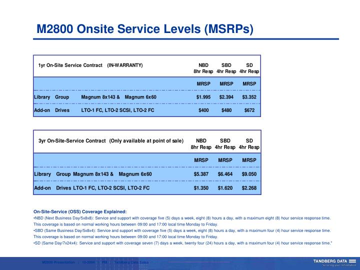 M2800 Onsite Service Levels (MSRPs)