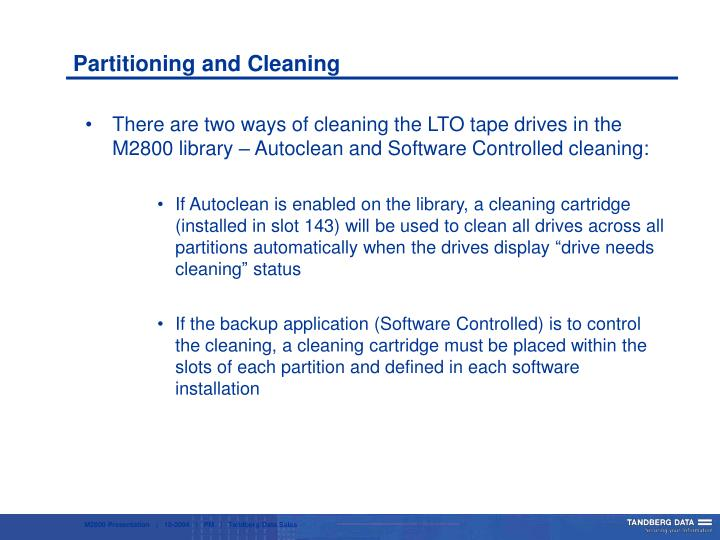 Partitioning and Cleaning