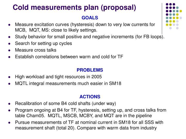 Cold measurements plan (proposal)
