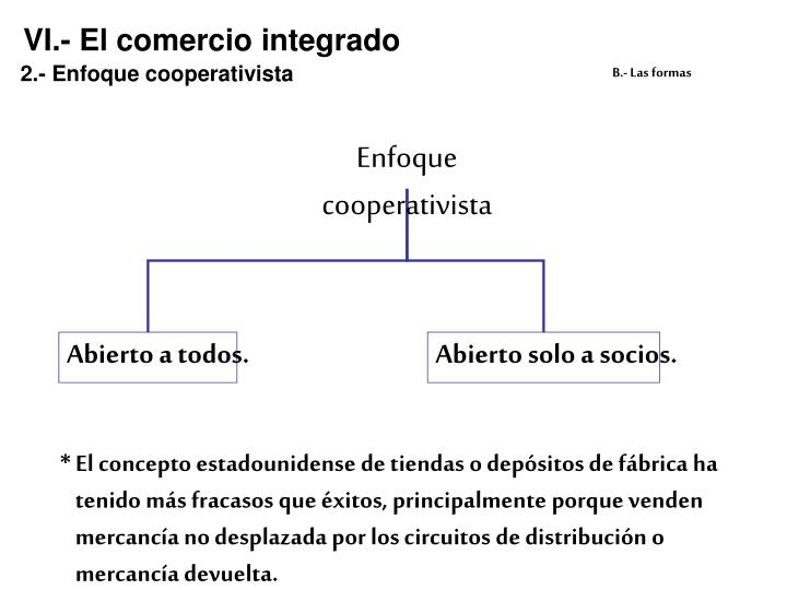 VI.- El comercio integrado
