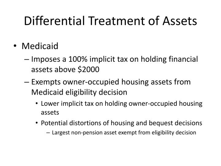 Differential Treatment of Assets