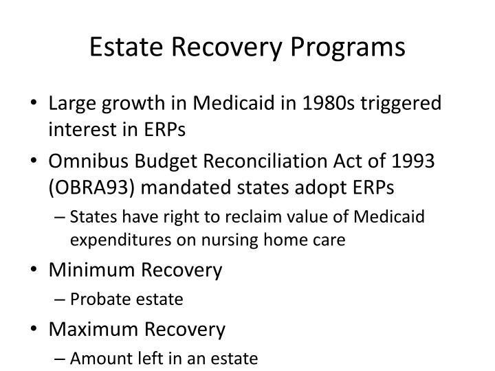 Estate Recovery Programs