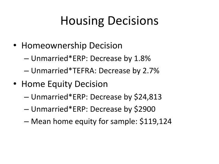 Housing Decisions