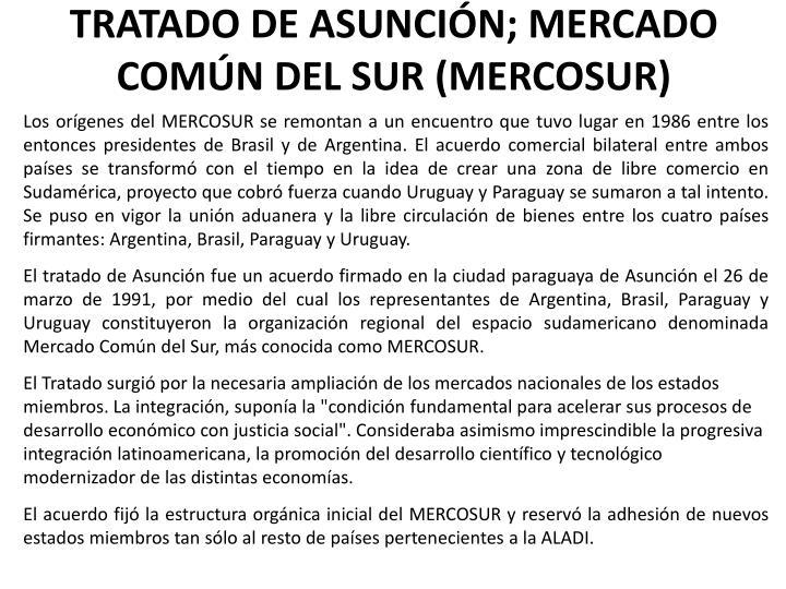 TRATADO DE ASUNCIÓN; MERCADO COMÚN DEL SUR (