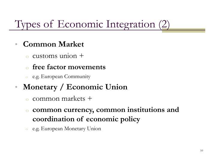 Types of Economic Integration (2)
