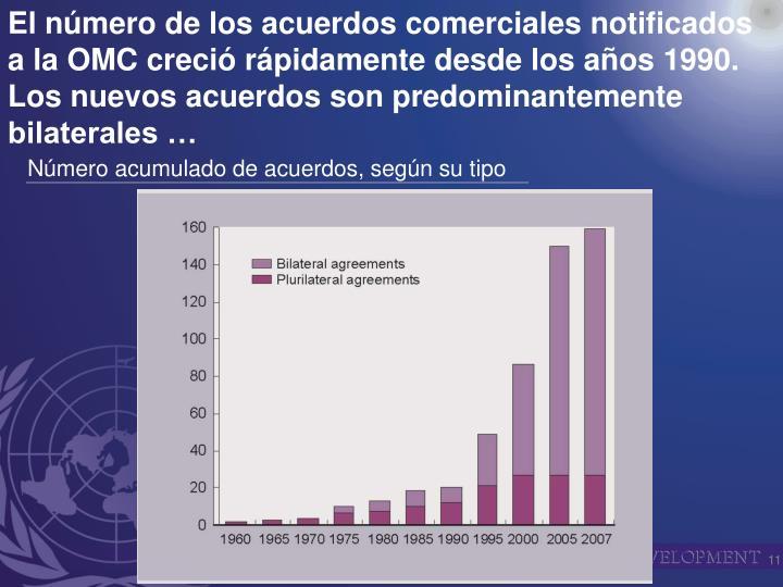 El número de los acuerdos comerciales notificados a la OMC creció rápidamente desde los años 1990.