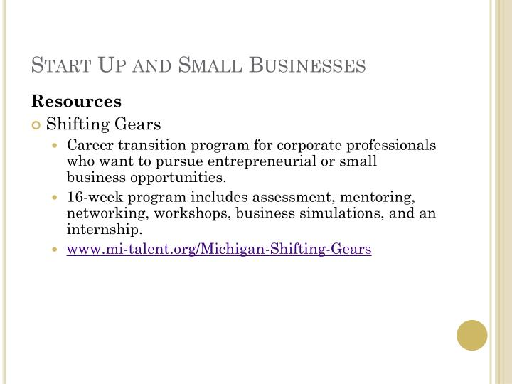 Start Up and Small Businesses