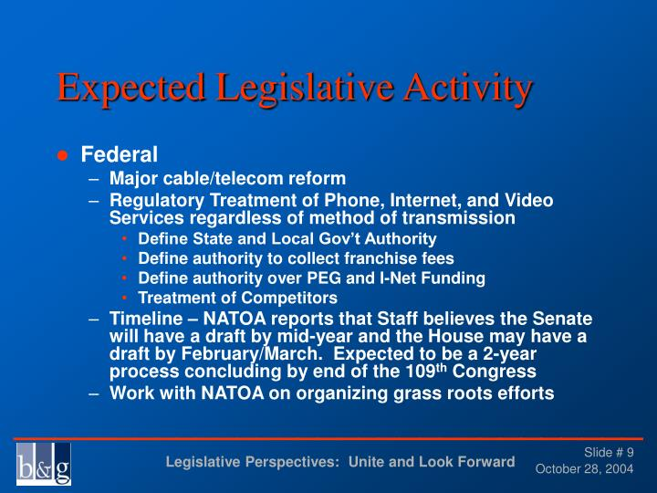Expected Legislative Activity
