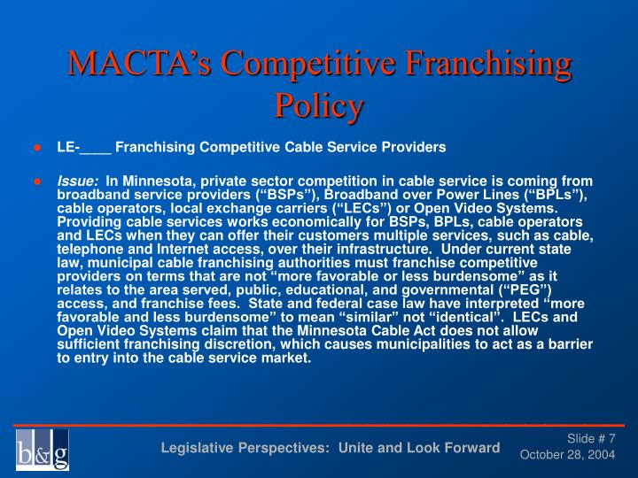 MACTA's Competitive Franchising Policy
