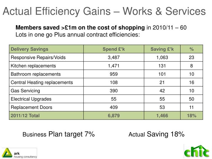 Actual Efficiency Gains – Works & Services