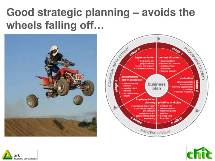 Good strategic planning – avoids the wheels falling off…
