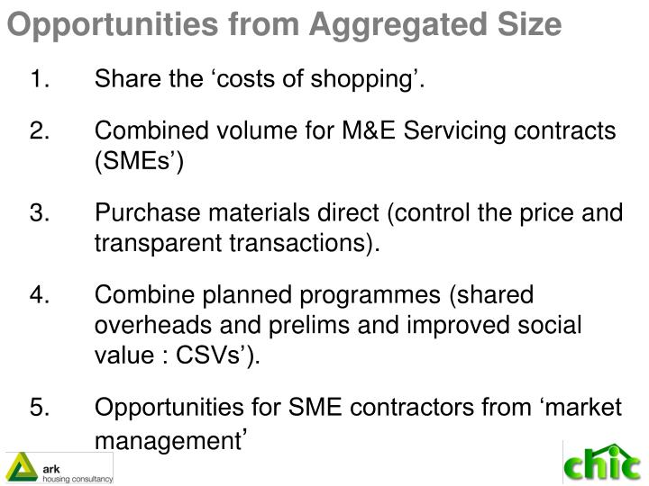 Opportunities from Aggregated Size