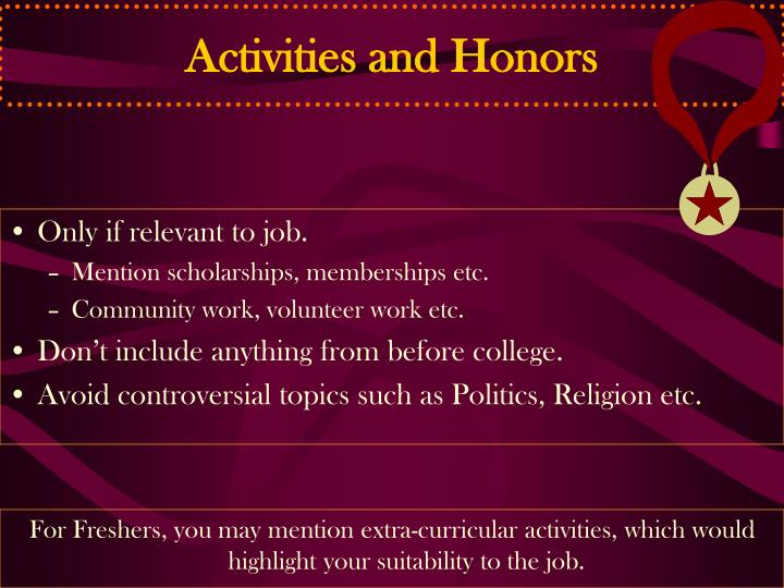 Activities and Honors