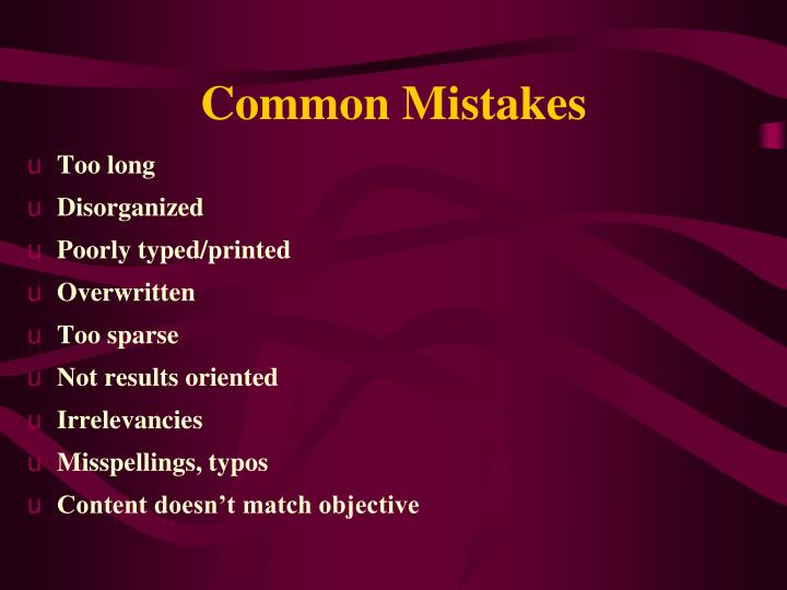 Common Mistakes