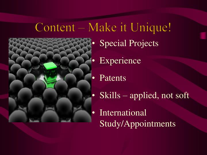 Content – Make it Unique!