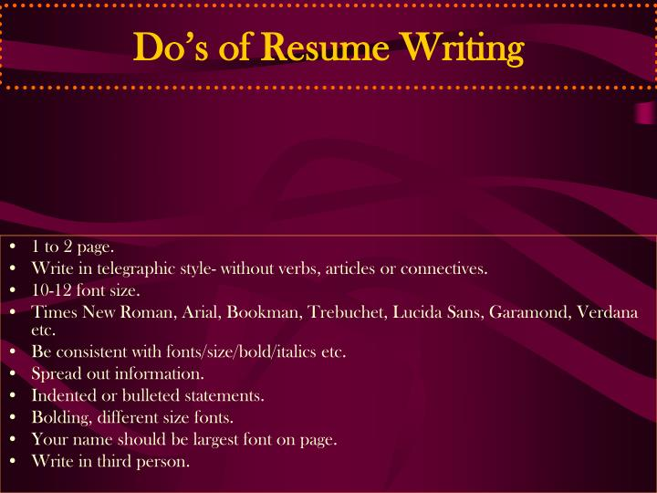 Do's of Resume Writing