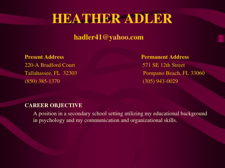 HEATHER ADLER