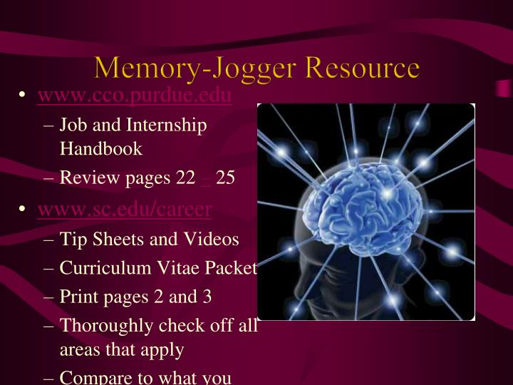 Memory-Jogger Resource