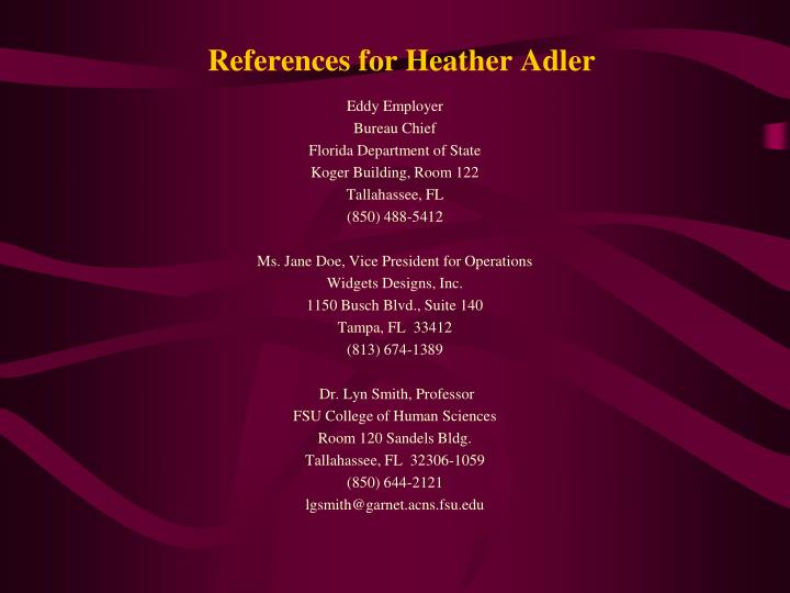 References for Heather Adler