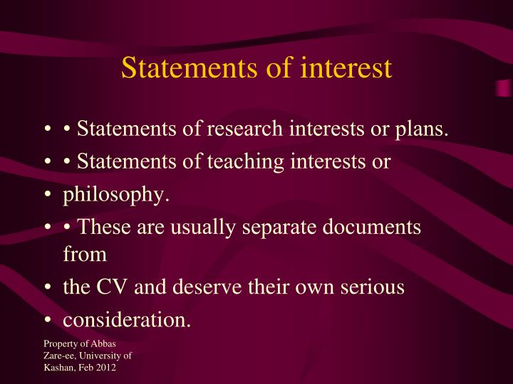 Statements of interest