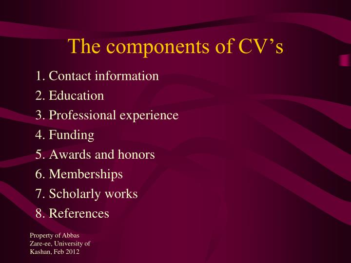 The components of CV's