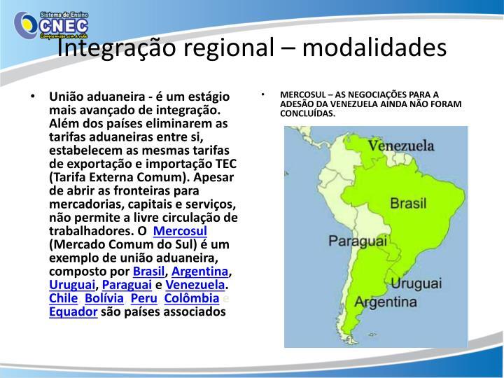 Integração regional – modalidades